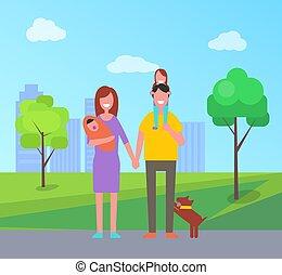 vecteur, parents, illustration, famille, enfants