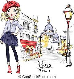 vecteur, paris, mode, girl