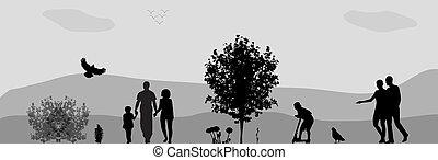 vecteur, park., promenade, illustration., gens