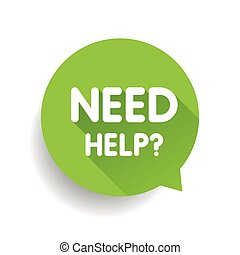 vecteur, parole, (question, help?, besoin, vert, bulle, icon)