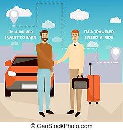 vecteur, partage, poster., service, voiture, pool transport, deux, illustration, dessin animé, concept, carpooling, mains, devant, secousse, style., hommes