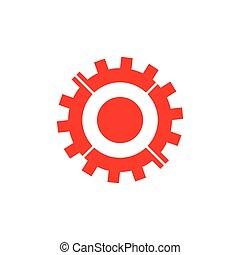 vecteur, partie, symbole, machine, géométrique, dent
