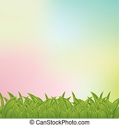 vecteur, pastel, cadre, fond, herbe