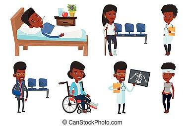 vecteur, patients., ensemble, caractères, docteur