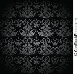 vecteur, pattern., seamless, damassé