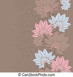 vecteur, pattern), (seamless, leaves., illustration