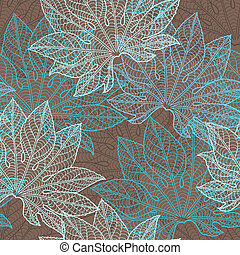 vecteur, pattern), (seamless, leaves., illustration