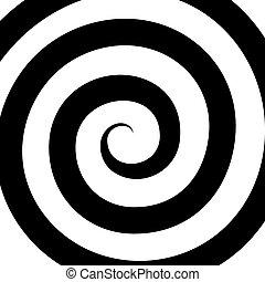 vecteur, pattern., spirale, hypnose, optique, illusion.