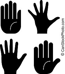 vecteur, paume, main, icône