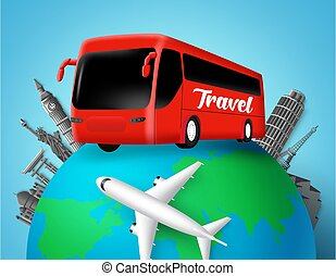 vecteur, pays, élément, globe, mondiale, design., repères, transport, destination., autobus, célèbre, voyage, texte