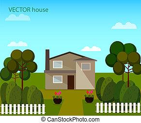 vecteur, paysage, à, beau, maison