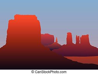 vecteur, paysage, arizona