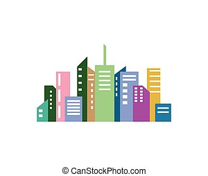 vecteur, paysage, illustration, horizon, ville, moderne
