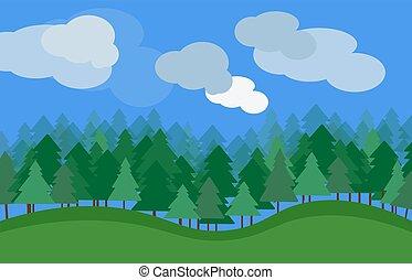 vecteur, paysage nature, à, herbe verte, arbres, et, nuages