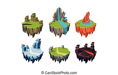 vecteur, paysage, naturel, biens, ensemble, îles, rocher, apps, illustration, fantasme, éléments, vidéo, utilisateur, fond, mobile, interface, jeux, blanc, ou