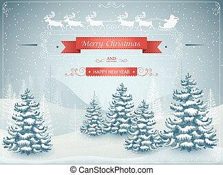 vecteur, paysage, nouvel an, chute neige, noël, heureux, hiver, forêt, joyeux, illustration
