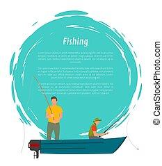 vecteur, peche, moteur, pêcheurs, bateau, icône