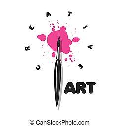 vecteur, peinture, blots, brosse, logo