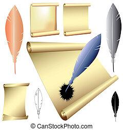 vecteur, pennes, défilements