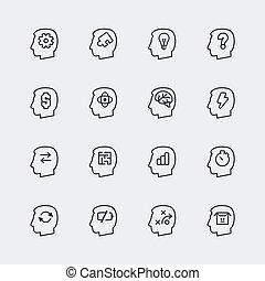 vecteur, pensée, mini, icônes, ensemble