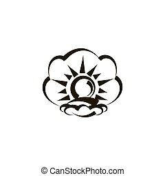 vecteur, perle, palourde, contour, illustration