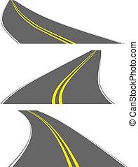 vecteur, perspective, routes