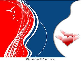 vecteur, petite amie, couverture, vacances, cœurs, mariage, jour, image.