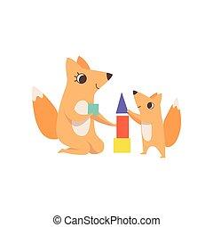 vecteur, peu, concept, animal, elle, famille, renard, illustration, jouer, parenting, jouet, pyramide, mère, bébé, aimer