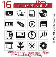 vecteur, photo, ensemble, noir, icône