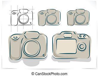vecteur, photo, plan, appareil photo