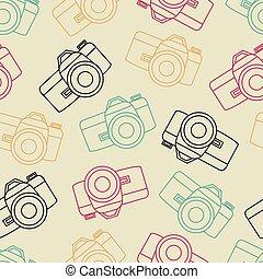 vecteur, photo, seamless, volet, appareil photo, ligne