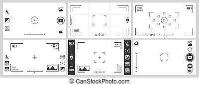 vecteur, photographie, zoom, ui, appareil photo, numérique, cadre, photo, ensemble, viewfinders., viseur, ajustement, foyer