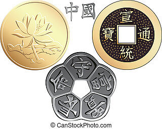 vecteur, pièces, ensemble, chinois