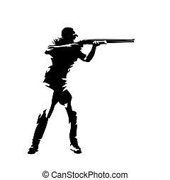 vecteur, piège, isolé, athlète, fusil, dessin, tir, encre, viser, silhouette.