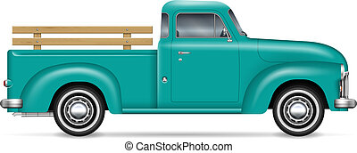 vecteur, pick-up, classique, camion, illustration