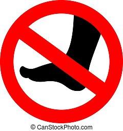 vecteur, pieds nue, non, signe