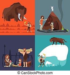 vecteur, pierre, ancien, âge, caverne, primitif, préhistorique, tools., ensemble, humain, concepts., dessin animé, homme