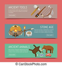 vecteur, pierre, primitif, ensemble, illustration., chasse, neanderthals, sapiens., ménage, préhistorique, equipment., vie, animals., armes, ou, homo, ancien, bannières, outils, âge