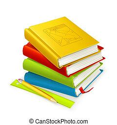 vecteur, pile, manuels