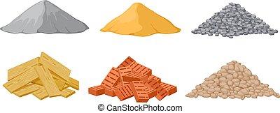 vecteur, piles., gypse, sable, briques, matériel, écrasé,...