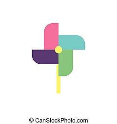 vecteur, pinwheel, conception, jouet, isolé