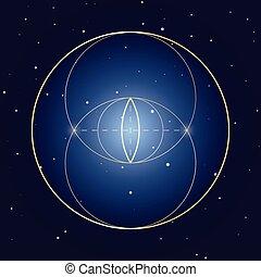 vecteur, piscis, élément, sacré, vesica, symbole, géométrie, conception