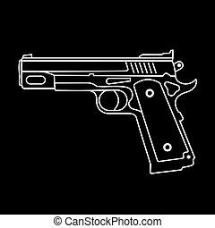 vecteur, -, pistolet, icône