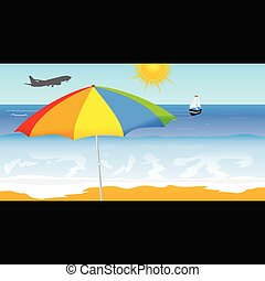 vecteur, plage, illustration