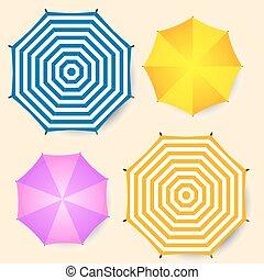 vecteur, plage, vue., isolé, parapluies, ensemble, sommet, illustration