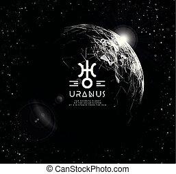 vecteur, planète, éléments, uranus, formulaire, responsable, lignes, moderne, innovations., polygonal, maille, points., technologies, astrologie