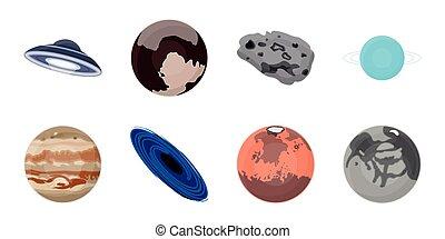 vecteur, planètes, système, illustration., ensemble, astromomie, toile, cosmos, stockage, solaire, collection, symbole, icônes, design.