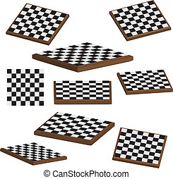 vecteur, planche, ensemble, échecs, 3d