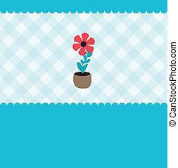 vecteur, plante, croissant, pot., fleur, illustration