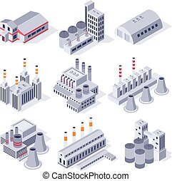 vecteur, plante, industriel, bâtiments., puissance, industrie, stockage, isométrique, usine, ensemble, propriété, entrepôt, usines, bâtiment, 3d